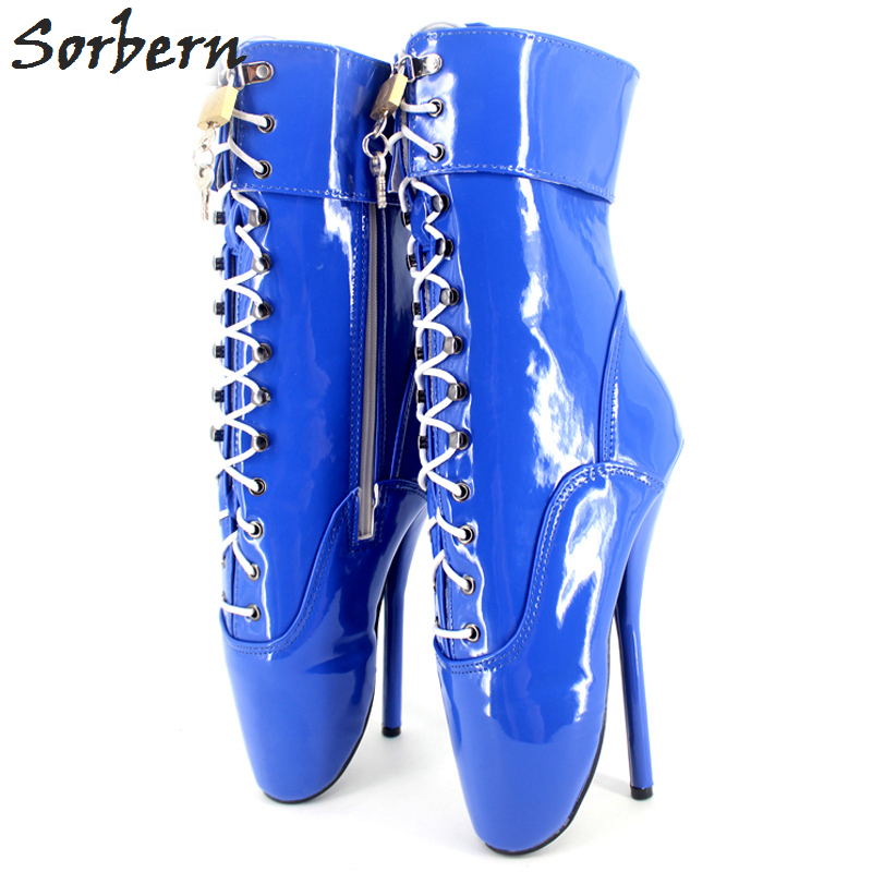 Sorbern Extreme 18CM High Heel Pointed Toe Shoes For Woman Exotic Fetish Sexy Padlocks Lockable BALLET Ankle Boots цена