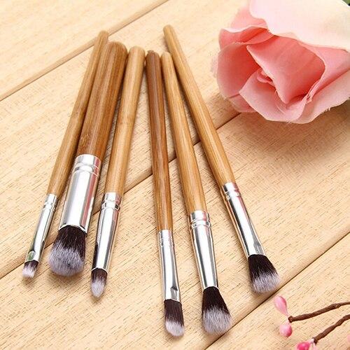 6 Pcs Pro Bamboo Handle Brushes Set Eye Shadow Brush Makeup Cosmetic Tool 9XCC