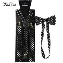 Winfox Vintage Men Polka Dot Suspenders And Bowtie Black White Women Shirt Braces 2.5 cm Wide Elastic Suspenders Bow Tie Set stylish white polka dot pattern 6cm width men s black tie