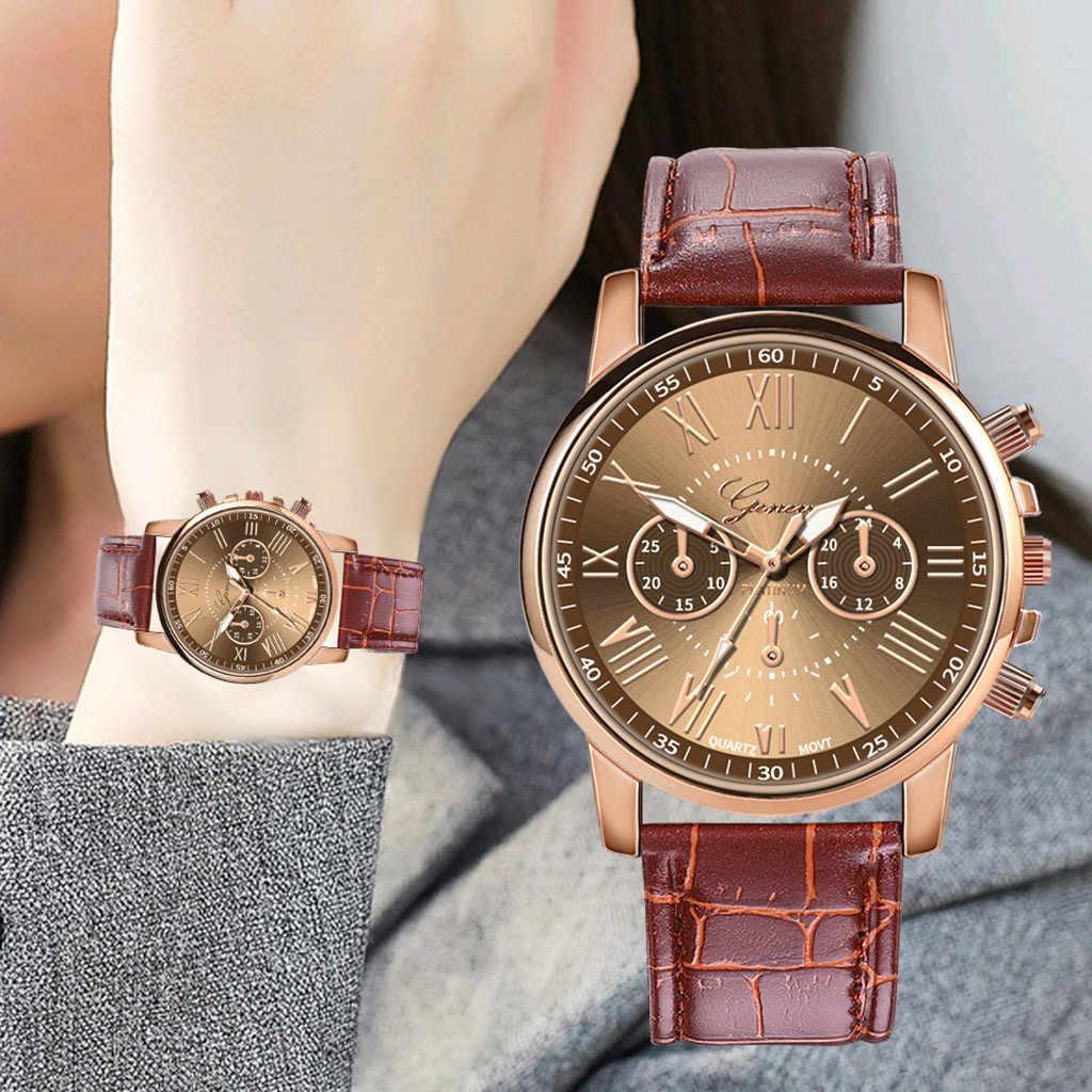 حار الرومانية عدد السيدات النساء حلقة من جلد ساعات يد كوارتز montre فام reloj موهير zegarek damski relojes الفقرة mujer