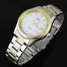 Fashion Luxury Crystal Men Watch Double Calendar Stainless Steel Golden Wristwatch Casual Dress Quartz Watch relogio masculino