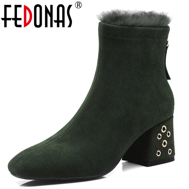 FEDONAS Autumn Winter Women Boots Casual Ladies Shoes Martin Boots Suede Leather Ankle Boots High Heeled Zipper Snow Boots liren autumn winter snow boots square high heels shoes casual martin boots women fashion zipper genuine leather ankle boots