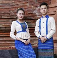 Spring Autumn Restaurant Workwear Suits Blue Southeast Asian Hotel Waiter Cashier Uniform Island Country Beach Waitress costume