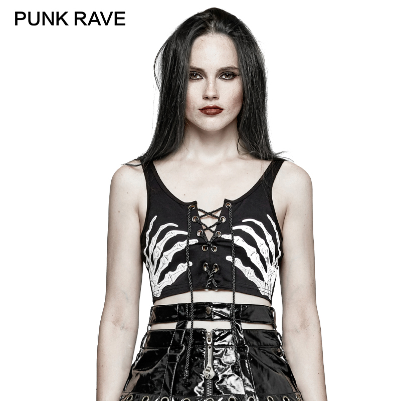 PUNK RAVE 2017 Punk Rock Black Cool Hand Bone Print Tether Cropped Feminino Tanks Women Halter Top Summer Bralette Crop Tops
