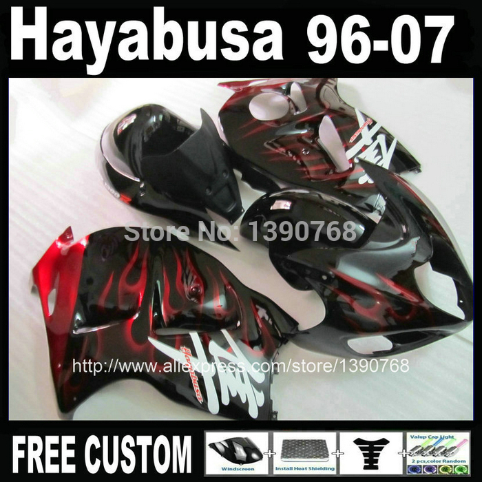 100% new fairing body kit for SUZUKI Hayabusa fairings GSX1300R 1996-2007 red flames in black bodywork  set GSX1300R 96-07 NJ6 free customize mold fairing kit for suzuki gsx 600f 750f 95 96 97 05 red black fairings set gsx600f 1995 1996 2005 lm41