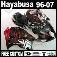 100% new fairing body kit for SUZUKI Hayabusa fairings GSX1300R 1996 2007 red flames in black bodywork set GSX1300R 96 07 NJ6