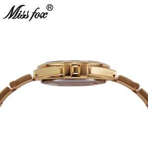 Image 3 - Miss Fox relojes de muñeca para mujer, reloj de lujo para mujer, dorado con piedras, marcas famosas con logotipo con moda, relojes casuales, 2017