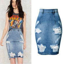 Back Split Sexy Women Jean Skirt 2018 New Holes Ripped Jeans Skirts Womens midi Denim Plus Size Bodycon