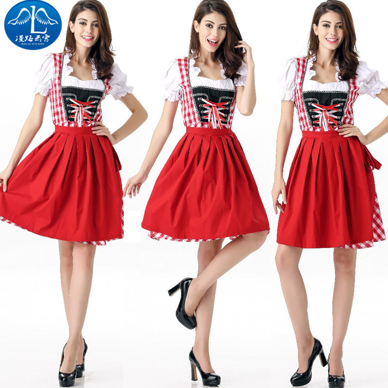 ManLuYunXiao 2017 Cosplay Costume Maid Costume Roleplay German Oktoberfest Dress Waiter Halloween Party Masquerade Uniform