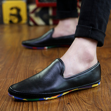 2016 Fashion Winter Mens Loafers PU Leather Men Shoes Casual Flats Soft Moccasins Italian Slip on Handmade Driving Shoes Black