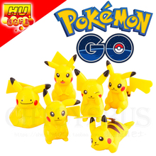 6pcs POGO Pokemon Go Pikachu Charmander Cute Monster Poke Ball Action Figures Building Blocks Minifigures Kids XMAS Gifts Toys