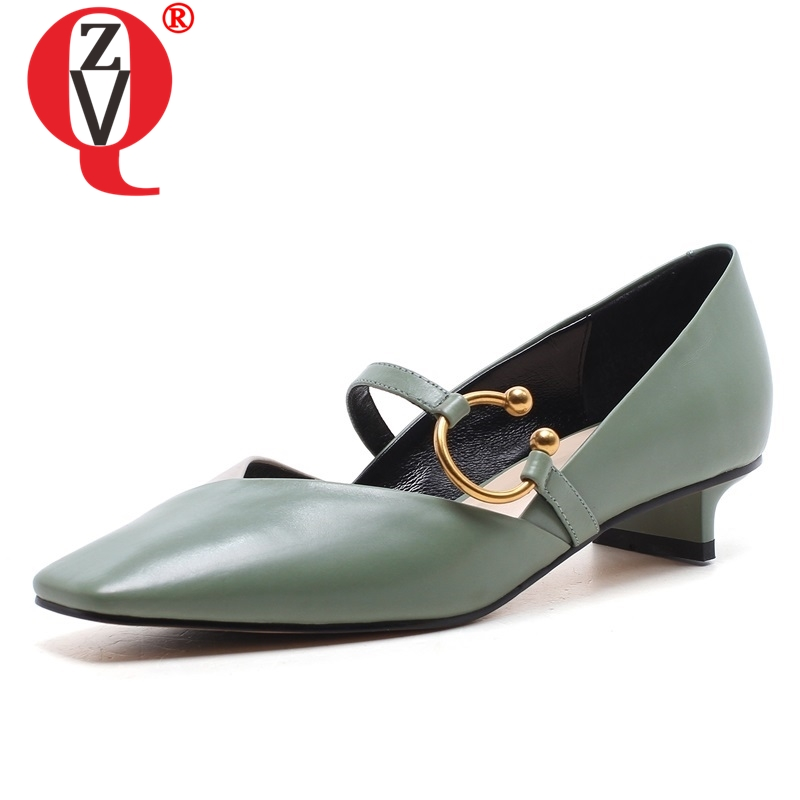 ZVQ shoes woman spring newest mixed colors high quality genuine leather women pumps outside low strags
