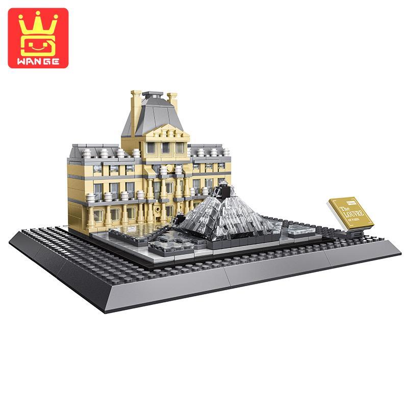 WANGE Louvre Of Paris Action Building Blocks Bricks Model Kis