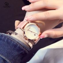 купить GUOU Brand Quartz Watch Simple Ladies Casual Fashion Women watches Waterproof Clock Leather relogio feminino reloj mujer по цене 2131.08 рублей