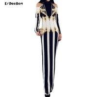 New Gorgeous Women Runway Dress Gold Black Beading Diamonds Long Sleeve Off Shoulder Celebrity Party Dresses
