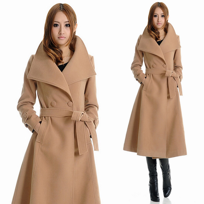 Popular Wool Cashmere Belted Double Coat Long-Buy Cheap Wool ...