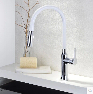 Brass White Kitchen Pull Out Sink Faucet Single Handle Single Hole Water  Mixer Tap Torneira Para