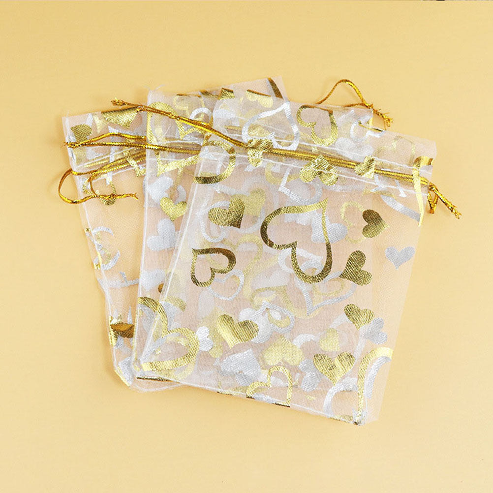 1-100Pcs White Star Lace Organza Bag Sheer Bag Jewellery Wedding Candy Packaging