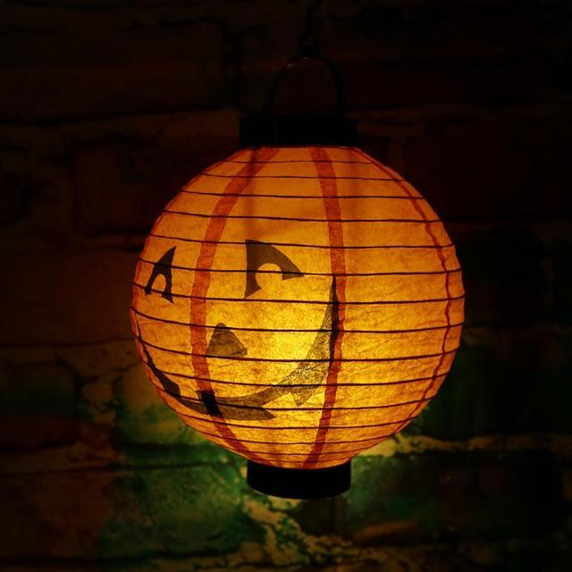 Halloween Decoration Led Paper Pumpkin Hanging Light Horror Lantern