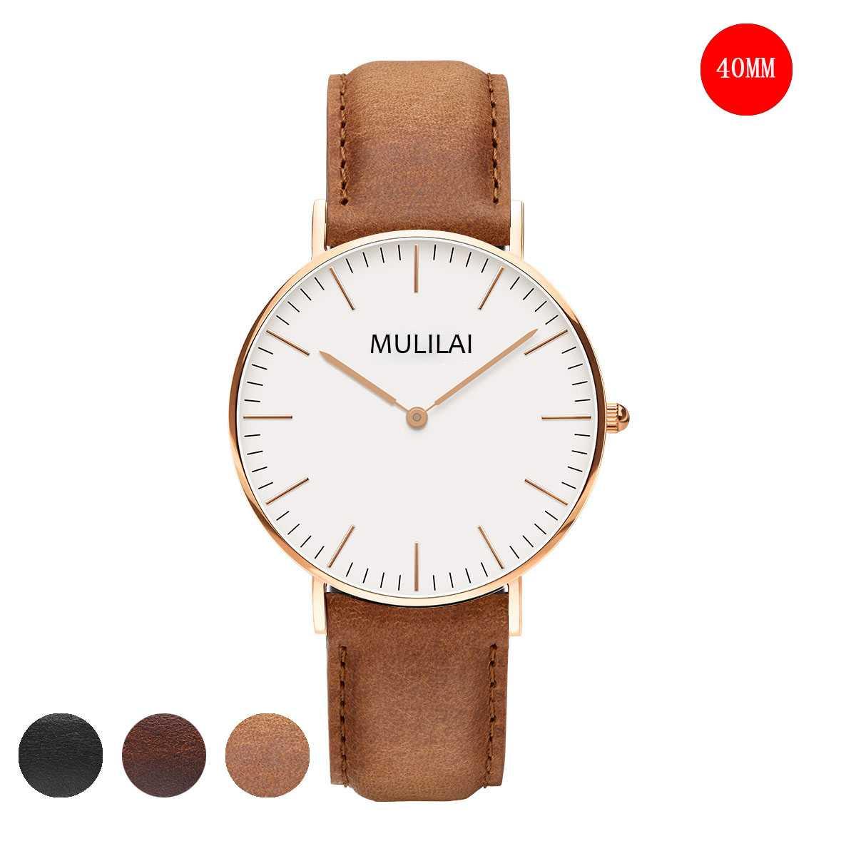 Fashion Men's Watch Brand Luxury 40MM DW watch Style Quartz watch Rose Gold leather strap Watches Reloj Hombre Relogio Masculino lg watch style w270 rose gold