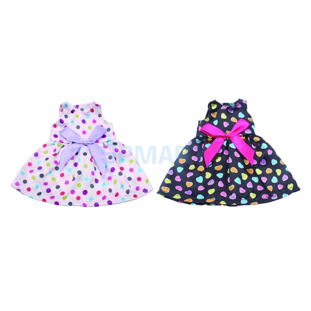 2pcs Fancy Doll Dress Clothes for 14 Inch American Girl Doll Our Generation Doll Dress Skirt Shoes Outfits Accs glitter doll shoes star dress shoe for 18 inch our generation american girl doll