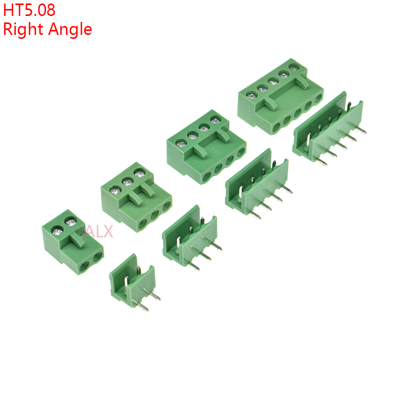 10SETS HT5.08 2/3/4/5/6/7/8/9 Pin RIGHT ANGLE Pcb Screw Terminal Block Connector 5.08MM Pitch PLUG + Straight PIN HEADER SOCKET