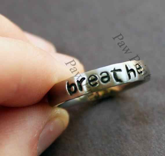 Stainless Steel Awareness Breathe Ring Suicide Depression Awareness Pause Ring Breathe Inspiration Jewelry Strength Gift YLQ0694