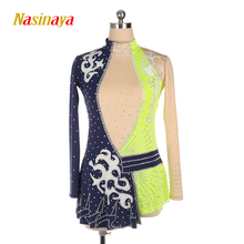 customized ice figure skating dress rhythmic gymnastics adult child girl show skirt competition white rhinestone blue green customized costume ice figure skating dress gymnastics competition white adult child performance blue rhinestone sleeveless