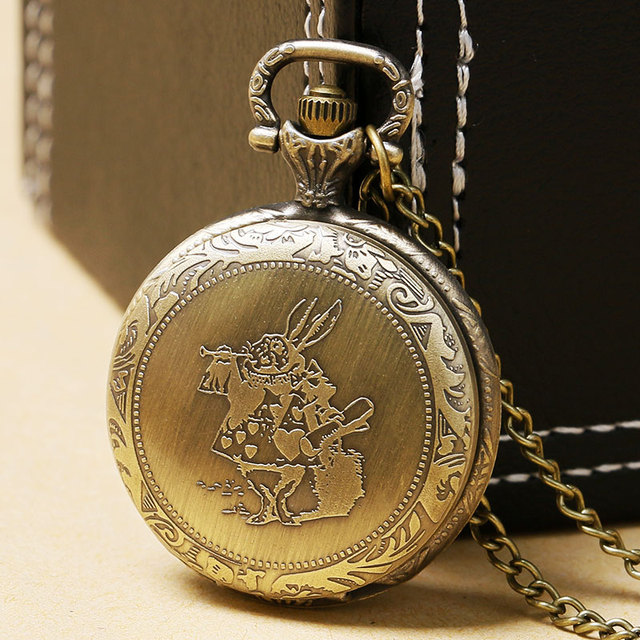 Alice In Wonderland Retro Pocket Watch Pendant With Chain Necklace Bronze Rabbit