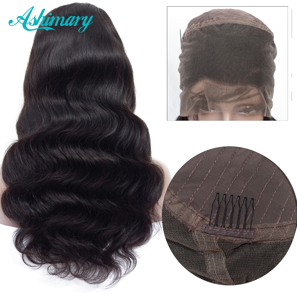 Ashimary Wig Human-Hair-Wigs Lace-Frontal Natural Hairline Body-Wave 360-Wigs Pre-Plucked