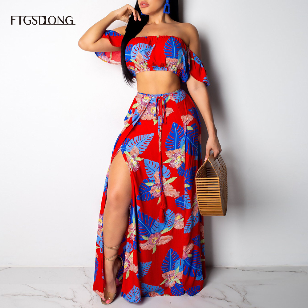 FTGSDLONG Plus Size Sexy Skirt and Crop Top Set Women