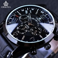 Orkina Business Travel Series Chronograph Function 3 Dial Display Genuine Leather Strap Mens Watch Top Brand