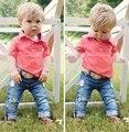 Ropa para niños de manga corta camisa de polo + jeans 2 unids set moda niños bebé primavera y otoño ropa conjunto