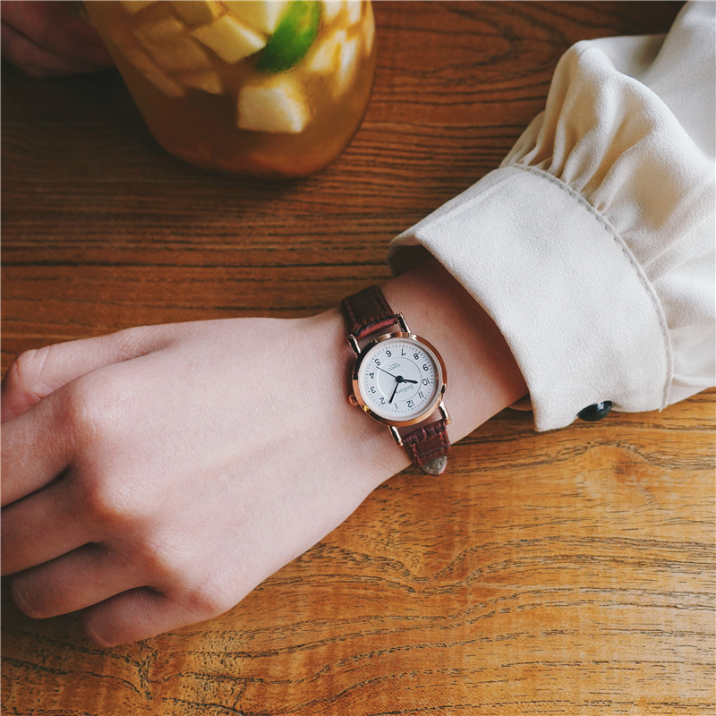 Luxury Black Red Brown Quartz Women Watch Simple Small Round Dial Watch Classic Ladies W ...