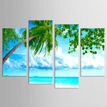 купить 4 pieces Sunshine Beach Coconut Trees Picture Print on Canvas Painting Artwork Wall Art Canvas painting Home Decoration по цене 596.6 рублей