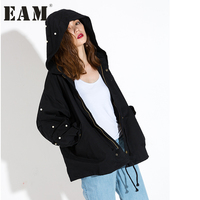 EAM 2018 Spring New Korean Beading Letter Zipper Fashion Women S Clothes Hooded Windbreaker Loose