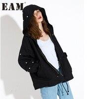 EAM 2018 Spring New Korean Beading Letter Zipper Fashion Women S Clothes Hooded Windbreaker Loose