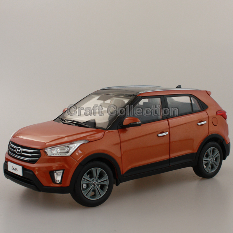 Orange 1:18 Hyundai IX25 2015 Compact SUV Diecast Model Car Urban Off Road Vehicle Cross Country Jeep 1 6 diecast model bike yamaha cross country motorcycle newray