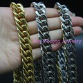 High Quality 12MM Cuban Link Chain Bracelet/Necklace Silver/Gold/Silver Gold Stainlesss Steel 7-38inch Men's Custom Size Jewelry