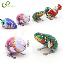 Juguetes clásicos de cuerda de hojalata para niños, juguetes de rana, ratón, conejo, gallo, juguete Vintage, nuevas figuras de acción, juguete para niños GYH