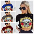 Sexy lady hole O Neck T-shirt with short sleeves Guns and roses printed Short Women Shirts