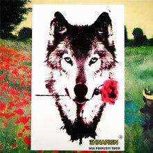 SHNAPIGN Grey Wolf Valentine Temporary Tattoo Body Art Sleeve Arm Flash Tattoo Stickers 12x20cm Waterproof Tatto Henna Fake