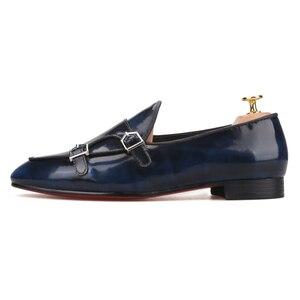 Image 2 - Piergitar zapatos de piel de becerro hechos a mano con hebilla de metal para hombre, mocasines de moda para fiesta y boda, zapatillas para fumar de talla grande