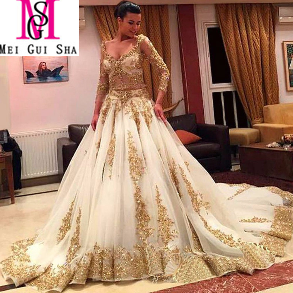 Online Get Cheap Ball Gown Wedding Dresses with Gold Lace ...