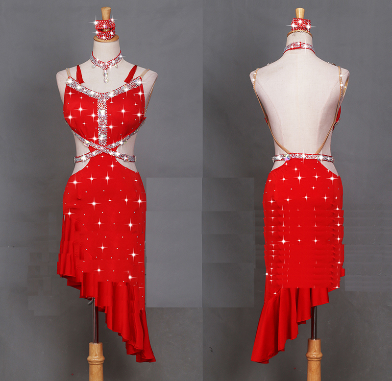 New Sexy Latin Dance Dress Women Fashion Original Red Backless Dresses Lady Rumba Flamenco Competition Dance Costumes B221