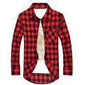 Informal camisa de hombre de manga larga Social a cuadros camisas de vestido de Slim Fit Red barato para hombre ropa Camisetas Xadrez Masculina