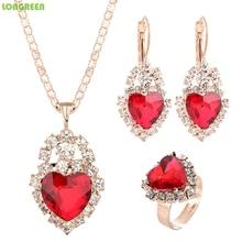 купить Crystal Cubic Zirconia Wedding Jewelry Sets For Women Girl Heart Pendant Necklace Earring Ring Set Parure Bijoux Bisutería по цене 125.05 рублей