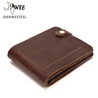 DWTS Genuine Crazy Horse Leather Men Wallets Vintage Wallet Purse Cowhide Leather Wallet For Mens