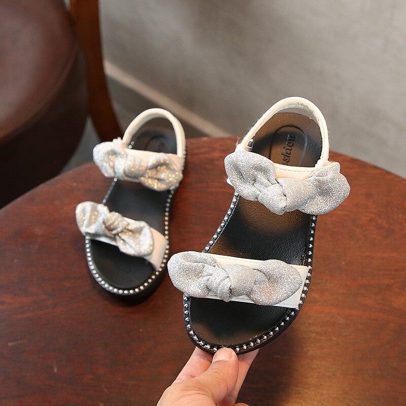 Summer sandals for girls Fashion bow white kids beach sandals black princess girl shoes sandals for kids boys black
