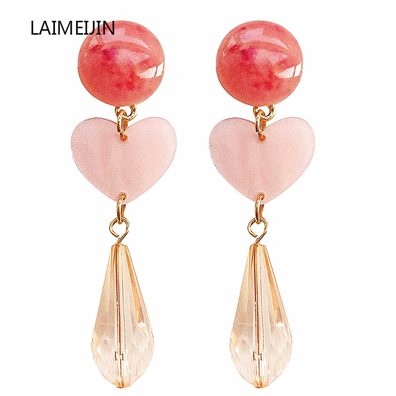 Elegant Pink Heart Shaped Earrings For Women New Simple Sweet Acrylic Stud Statement Earrings Party Gift Brincos Fashion Jewelry in Drop Earrings from Jewelry Accessories